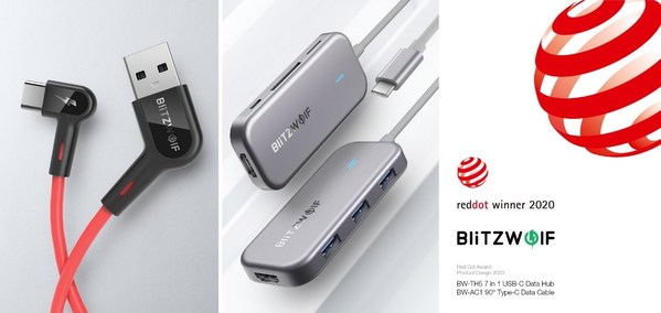 BlitzWolf's BW-AC1 Cable and BW-TH5 Hub Win The 2020 Red Dot Design Award