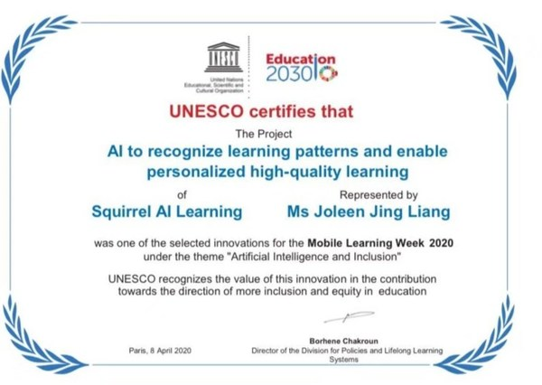 Squirrel AI Learning Wins UNESCO AI Innovation Award