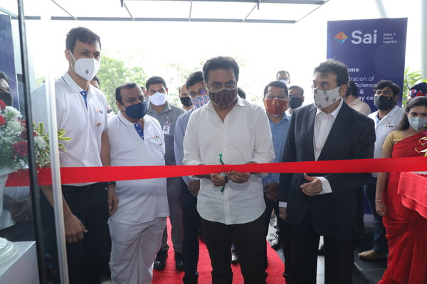 Inauguration of Sai Life Sciences' New Research & Technology Centre. Seen in the picture from left to right – Krishna Kanumuri, CEO & MD Sai Life Sciences, Sri K T Rama Rao, Hon'ble Minister for IT, Industries, MA & UD and Jayesh Ranjan, Principal Secretary to Government Industries and Commerce