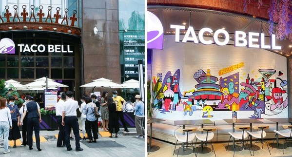 Store front and locally inspired wall art at Taco Bell's new store in Beijing