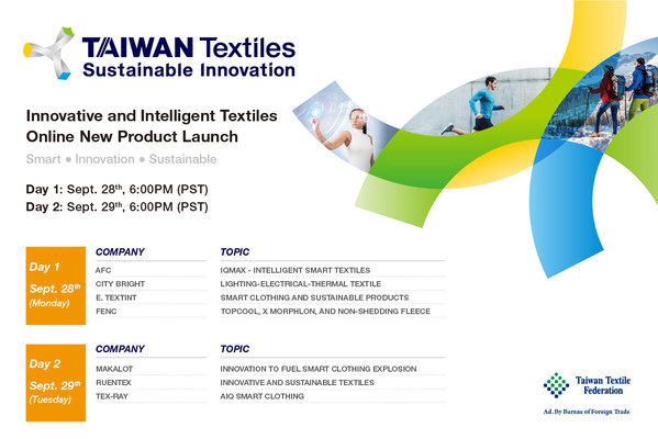 Top Taiwan Firms to Present Innovative and Smart Textile Solutions Online on Sept. 28th and 29th