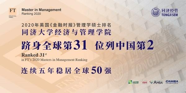 Tongji SEM รั้งอันดับ 31 ของหลักสูตรปริญญาโทสาขาการจัดการที่ดีที่สุดในโลก จากการจัดอันดับประจำปี 2020 โดย Financial Times