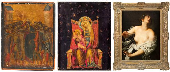 From left to right: Cimabue, Le Christ moqué –  Le Maître de Vyssi Brod, La Vierge et l'Enfant en trône - Artemisia Gentileschi, Lucrèce. Three major Old Master paintings sold at auction in France in 2019, appraised by Cabinet Turquin