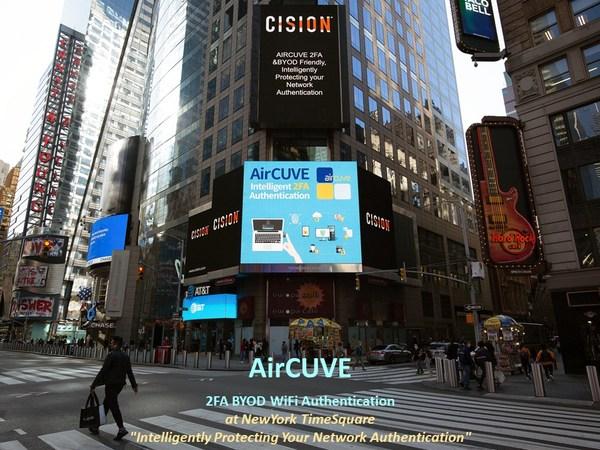 AirCUVE 2FA BYOD WiFi Authentication Tampil di NewYork TimeSquare.