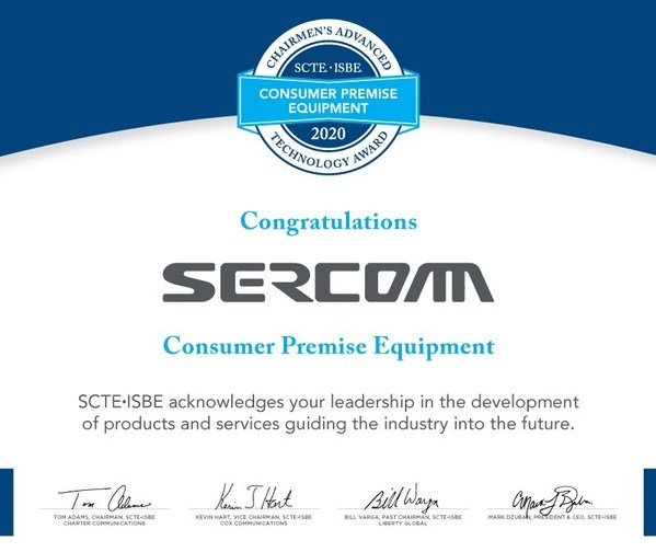 Sercomm Receives SCTE-ISBE Chairmen's Advanced Technology Award