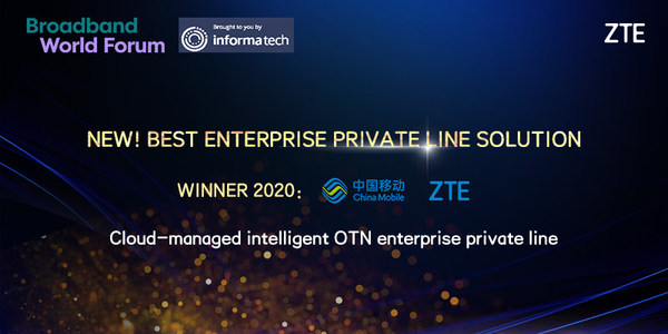 ZTEとChina MobileがBroadband World Forum2020でBest Enterprise Private Line Solution Awardを受賞