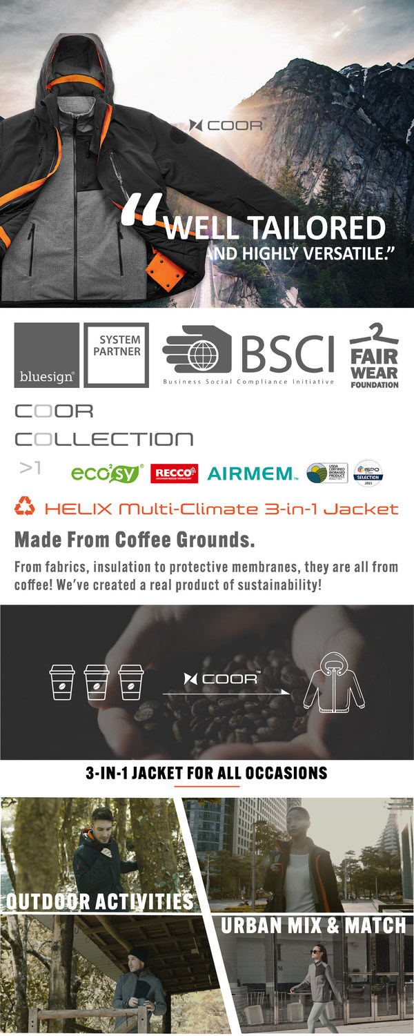 Wake up and smell the coffee: COOR(TM) 3-in-1 outdoor jacket made from upcycled coffee grinds launches on Kickstarter