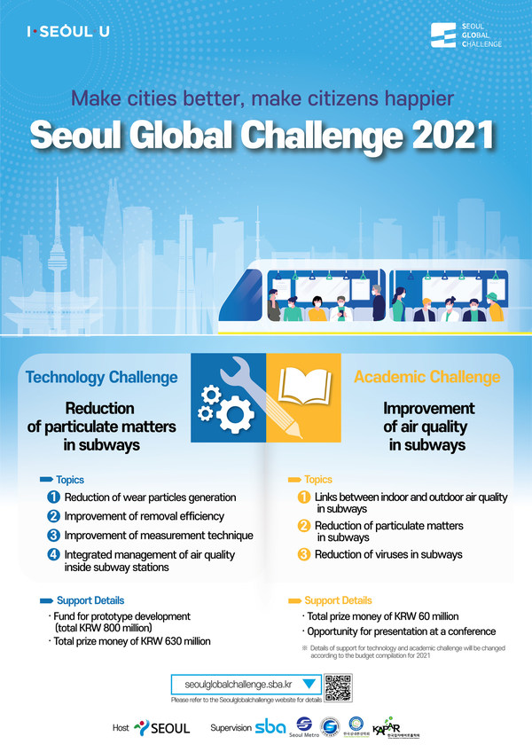 "Seoul to host ""Seoul Global Challenge 2021"" to seek for innovative solutions to improve air quality in Seoul subway; finally selected teams to receive a cash prize of 690 mil. won"