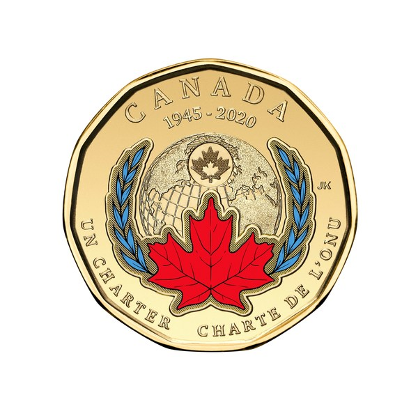The Royal Canadian Mint's coloured Loonie marking the 75th anniversary of the signing of the UN Charter