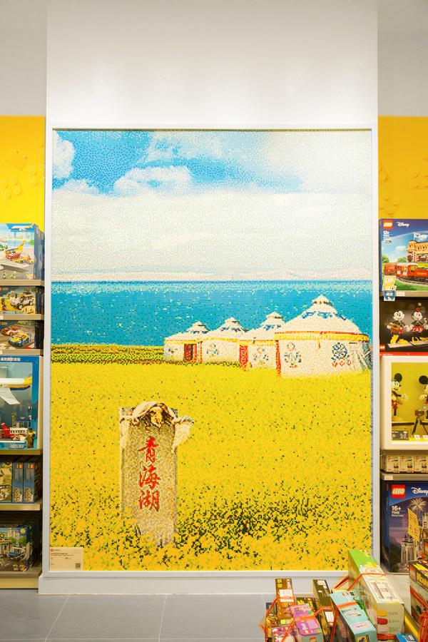 """乐高马赛克画-""""青海湖大草原"""" 共使用大约90,000个乐高积木颗粒,耗时600小时"""