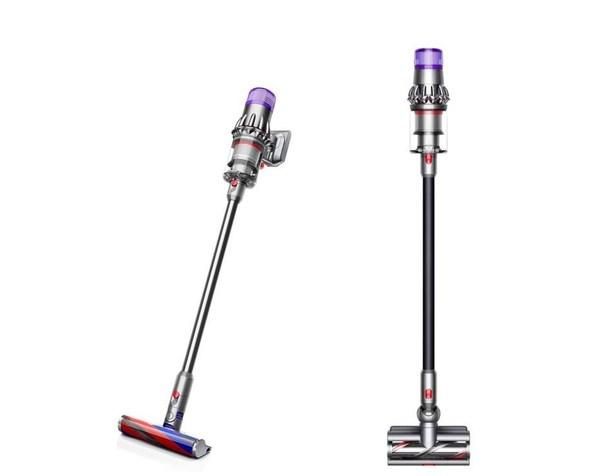 黑色限量款戴森V11 Complete Extra无绳吸尘器(右)及镍色限量款戴森Digital Slim Fluffy+轻量无绳吸尘器(左)