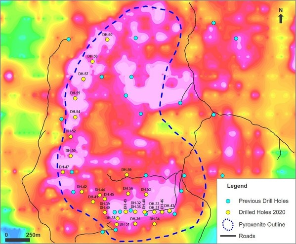 Figure 2: Map showing historic holes, as well as 2020 completed holes mostly focusing on the south west extension. The dashed blue line shows the contact of the pyroxenite unit with the basement gneisses. The background is an image of the systematic nickel in soil geochemistry.