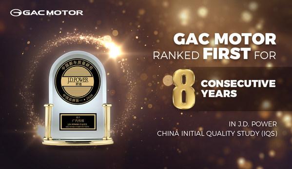 GAC MOTORがJ.D.パワーの中国IQS調査で8年連続してチャンピオンに選ばれる