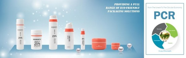 PCR jars and bottles: offers all different PET or PP bottles and jars with customizable PCR material