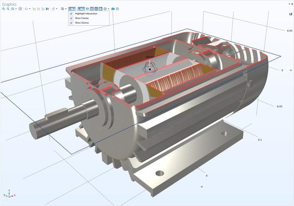 COMSOL Multiphysics 5.6版本中的电机仿真案例,使用剪裁平面可以轻松访问模型内部结构,为模型设定材料和载荷。