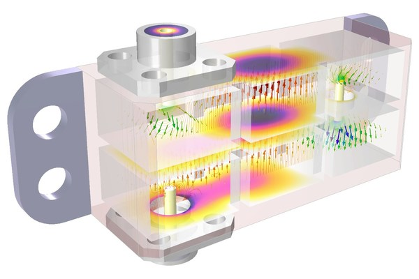 在毫米波 5G 频段工作的级联腔滤波器的热-力耦合案例,图中展示了部分透明的新视图功能。