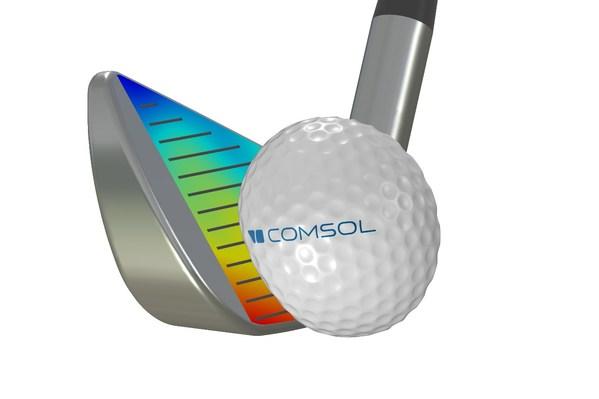 高尔夫铁杆击打高尔夫球时的瞬态接触仿真。