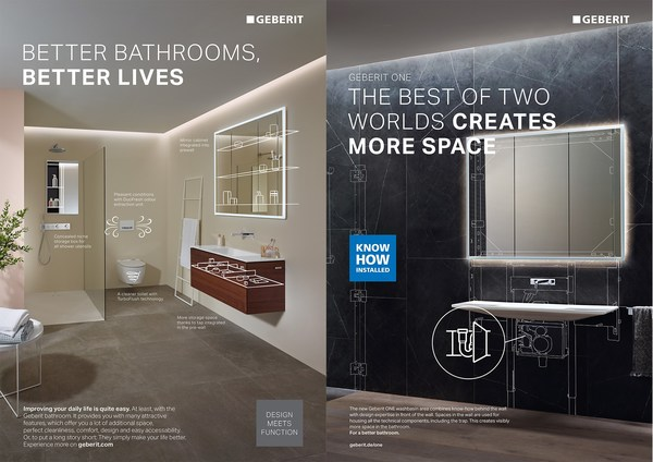 """""""Design Meets Function"""" and """"Know-How Installed"""": With the expansion of its product portfolio, Geberit is aiming the brand at end users as well as trade professionals. This is symbolised by the products in the Geberit ONE bathroom series, which combine Geberit's expertise behind the wall and in front of the wall."""