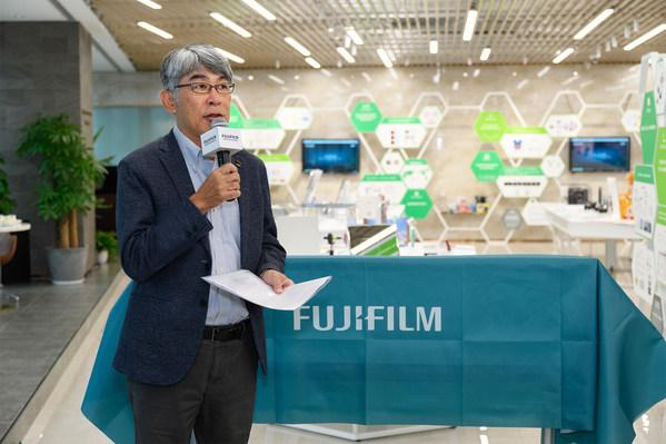 富士胶片(中国)总裁武冨博信在富士胶片开放创新中心·中国上海分站开幕式上致辞