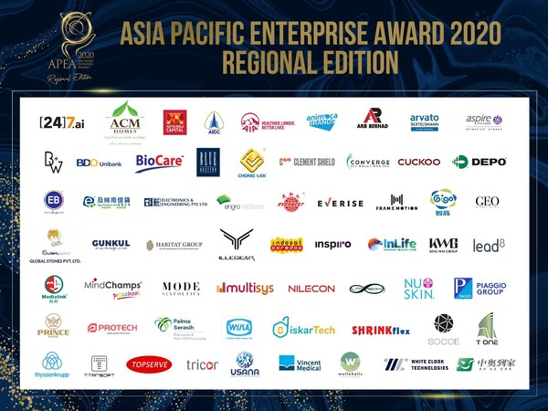 Sixty-one Prominent Business Leaders and Organisations Lauded at The Asia Pacific Enterprise Awards 2020 Regional Edition