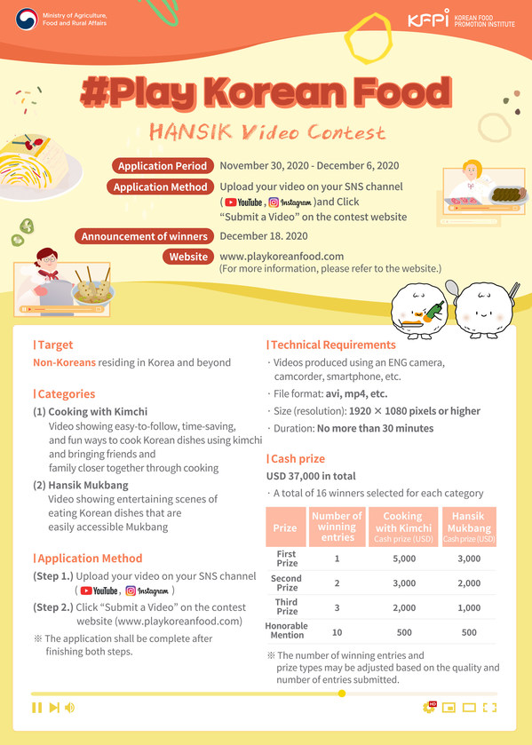 Ministry of Agriculture, Food and Rural Affairs-Korean Food Promotion Institute host the 2020 '#Play Korean Food', a Korean food video contest for foreigners from the 30th of this month.