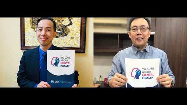 """Luye Pharma and Distriphil launch the """"We Care About Mental Health"""" initiative in the Philippines (From left to right: Mr. Andy Siow, APAC Regional Director of Luye Pharma (International); Mr. Michael Quijano, Vice President & Chief Operation Officer of Distriphil)"""