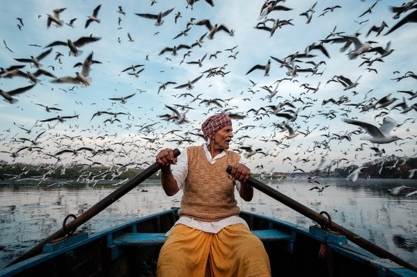 A Man Who Feeds the Migratory Birds by Saurabh Narang, Germany
