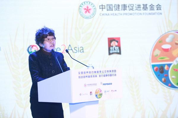 中华预防医学会健康传播分会主任委员、原卫生部疾控局副局长孔灵芝致辞