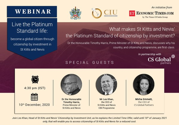 Citizenship by Investment: Prime Minister of St Kitts and Nevis Will Discuss Options in 10 December Webinar with Times of India