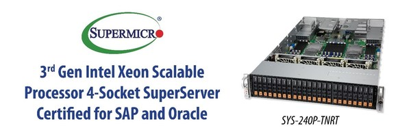 Supermicro的4插槽平台通过相关认证