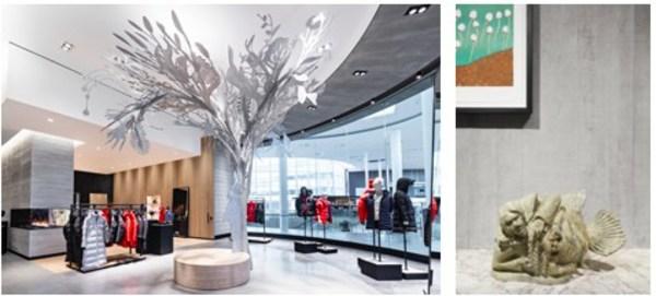 在 Canada Goose 加拿大鵝 Yorkdale 購物中心店展出,由 Alex Fisher 和 Qavavau Manumi 創作的《Story Tree》 | 在 Canada Goose 加拿大鵝巴黎門店展出,由 Pootoogook Jaw 創作的《Sedna and Young》