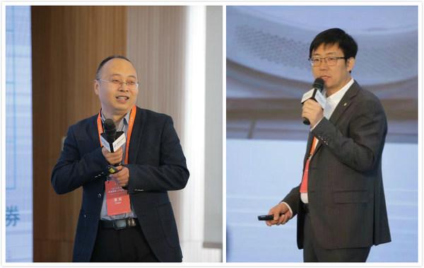 在消费机器人领域,TUV莱茵大中华区电子电气服务项目经理冯艳军(右)和壹佰米机器人技术(北京)有限公司联合创始人、高级副总裁孙广彬进行了主题分享