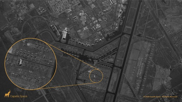 Roswell International Air Center, New Mexico — Capella's very high-resolution Spot imagery shows retired aircraft and their shadows, revealing granular details such as the size of a cockpit, fuselage, wings and engines.