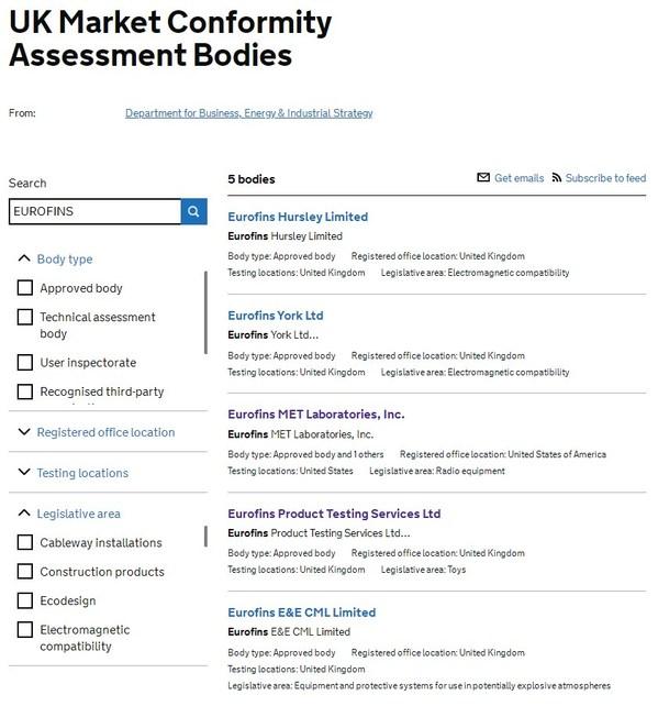UKCA首批发证机构(Eurofins集团共5家实验室信息)