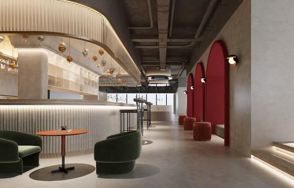 以黑白灰调搭配红色为主基调的装修风格,为客户营造舒适、轻松的共享办公氛围