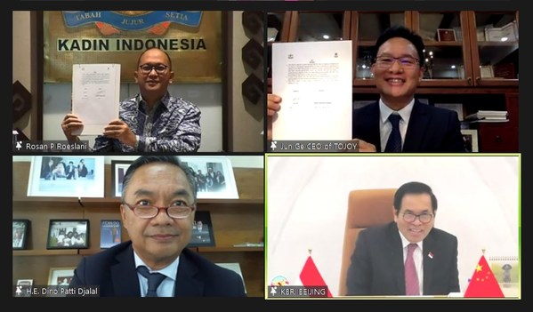 The MOU signing by Chairman Rosan Roeslani and Global CEO Ge Jun was witnessed by Ambassador Djauhari Oratmangun and Dr. Dino Patti Djalal