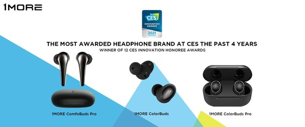 "1MORE Receives 3 CES Innovation Awards for Its Expanded ""AirPods Killer"" True Wireless Family"