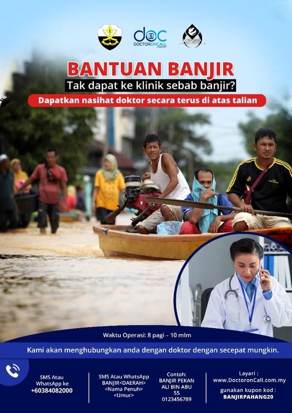 Bantuan Doktor OnCall Bagi Mangsa Banjir di Pahang dengan Khidmat Telekesihatan dan Program Bantuan Kesihatan Percuma