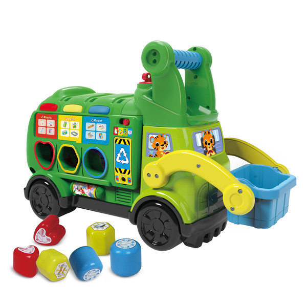 VTech's newly launched eco-friendly products include the Sort & Recycle Ride-on Truck™ made from reclaimed plastic.