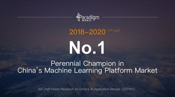4Paradigm stays on Perennial Champion in China's Machine Learning Platform Market from 2018 to the first half of 2020.