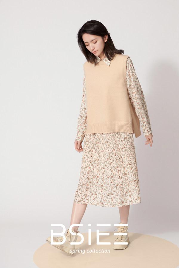 BSiEE本涩春季新品 碎花两件套式连衣裙
