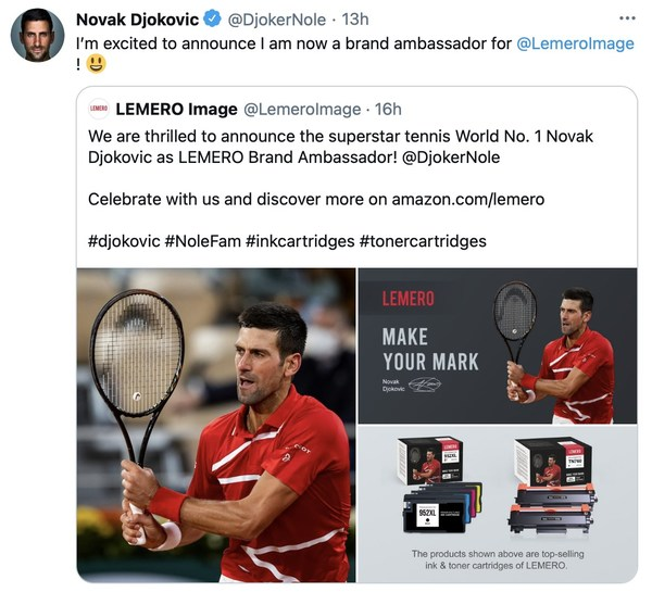 The Printer Cartridge Brand - LEMERO Announces Novak Djokovic as Brand Ambassador