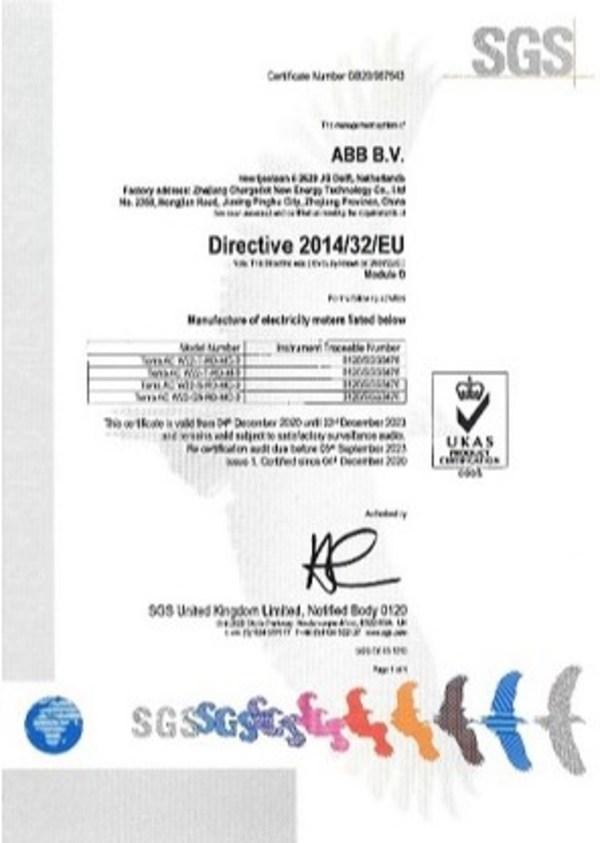SGS为ABB旗下联桩新能源颁发全国首张新能源汽车充电桩CE-MID证书