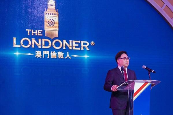 金沙中國有限公司總裁王英偉博士周一在澳門倫敦人水晶金殿舉行的澳門倫敦人首階段揭幕典禮上致辭。澳門倫敦人將於2021年分階段開業。