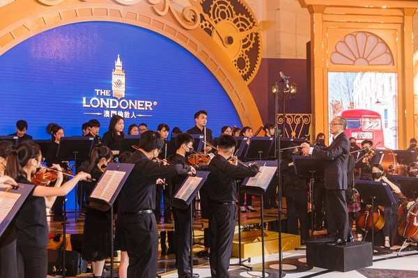 The Macau Youth Orchestra performs at the opening ceremony for the first-phase launch of The Londoner Macao Monday at the integrated resort's Crystal Palace atrium. The Londoner Macao is Sands China's bold British-themed reimagining of the Sands Cotai Central integrated resort, and offers the best of British history and culture alongside a traditional yet contemporary hospitality experience.