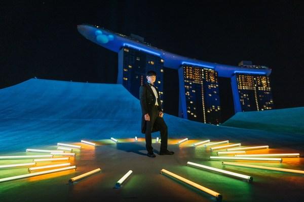 JJ Lin performing on rooftop of ArtScience Museum