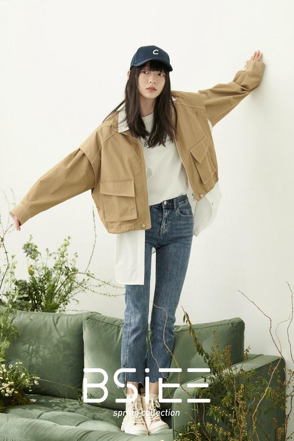 BSiEE本涩春季新品 两件套可拆卸短款风衣 & 修身九分牛仔裤