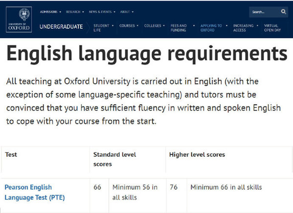 PTE学术英语考试获得牛津大学认可