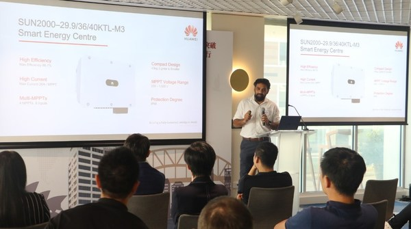 Haider Khan, Product and Solutions Manager of Huawei, unveiling the new products