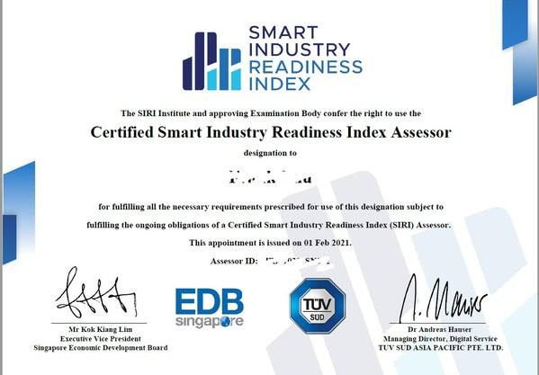 TUV南德员工获新加坡经发局颁发智能工业指数(SIRI)评估师资格